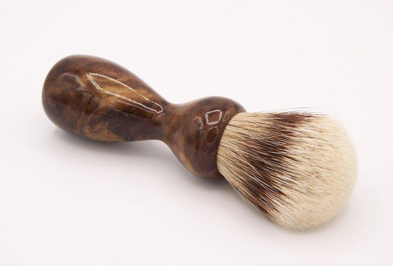 Image 2 of Claro Walnut Burl Wood 24mm Super Silvertip Badger Shaving Brush (W1)