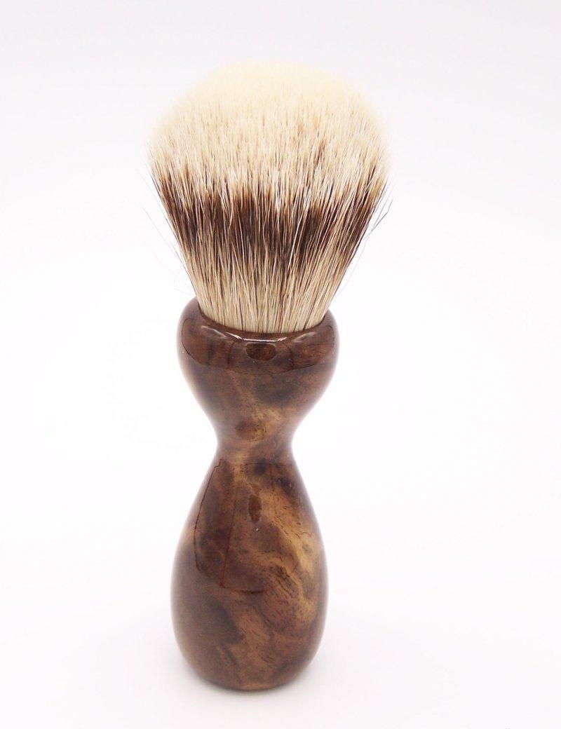 Image 3 of Claro Walnut Burl Wood 24mm Super Silvertip Badger Shaving Brush (W1)