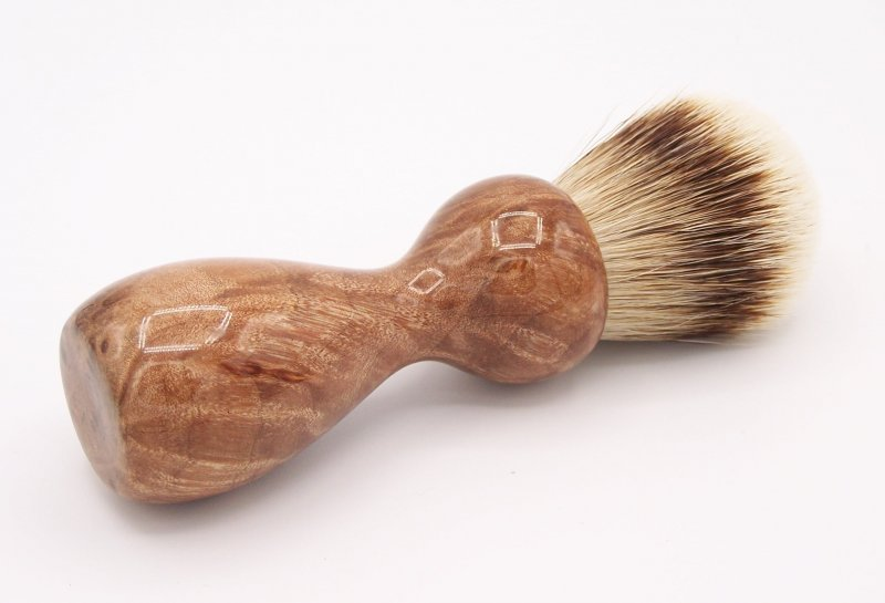 Image 1 of Maple Burl Wood 24mm Super Silvertip Badger Shaving Brush (M1)