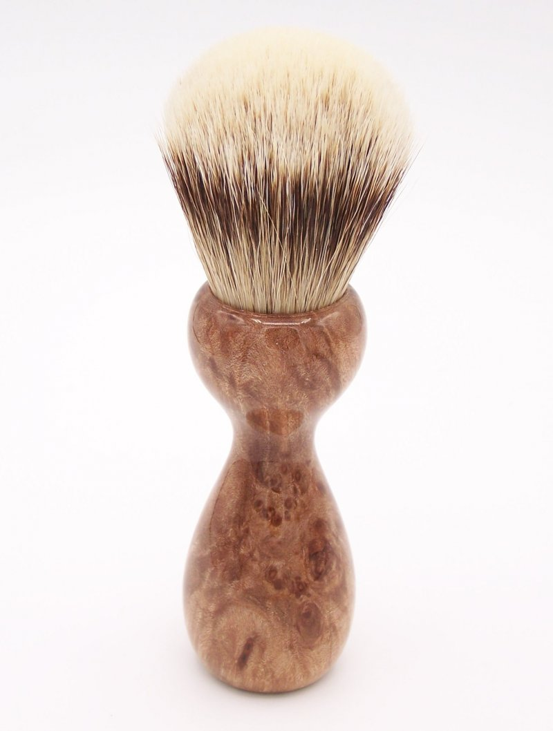 Image 2 of Maple Burl Wood 24mm Super Silvertip Badger Shaving Brush (M1)