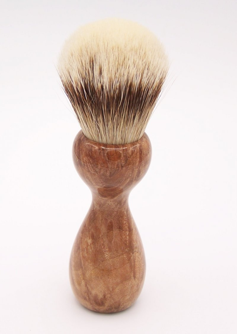 Image 3 of Maple Burl Wood 24mm Super Silvertip Badger Shaving Brush (M1)