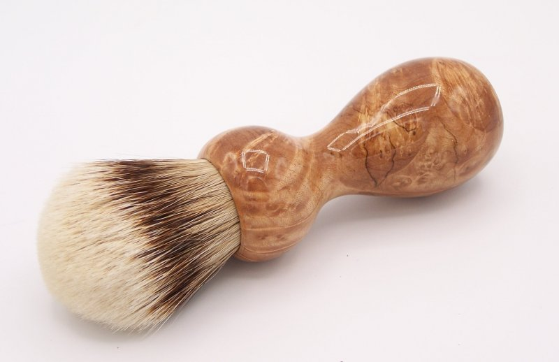 Image 0 of Maple Burl Wood 24mm Super Silvertip Badger Shaving Brush (M2)