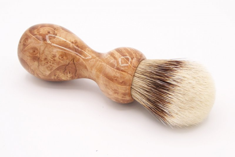 Image 1 of Maple Burl Wood 24mm Super Silvertip Badger Shaving Brush (M2)