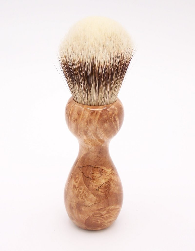 Image 2 of Maple Burl Wood 24mm Super Silvertip Badger Shaving Brush (M2)