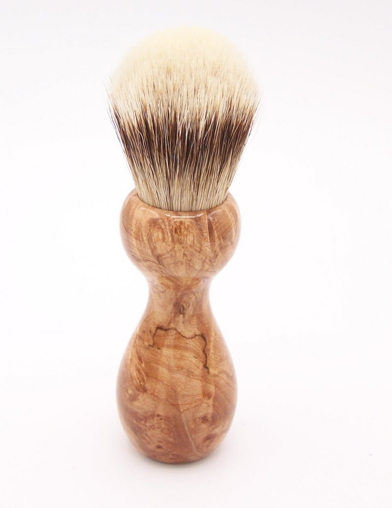 Image 3 of Maple Burl Wood 24mm Super Silvertip Badger Shaving Brush (M2)