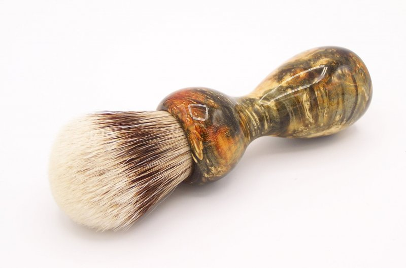 Image 0 of Gold & Black Box Elder Burl Wood 24mm Super Silvertip Badger Shaving Brush (B1)