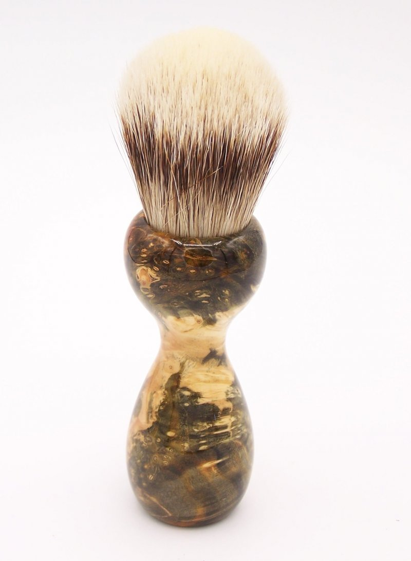 Image 3 of Gold & Black Box Elder Burl Wood 24mm Super Silvertip Badger Shaving Brush (B1)
