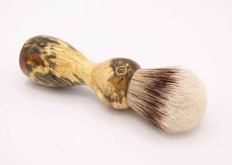 Image 2 of Gold & Green Box Elder Burl Wood 24mm Super Silvertip Badger Shaving Brush (G1)