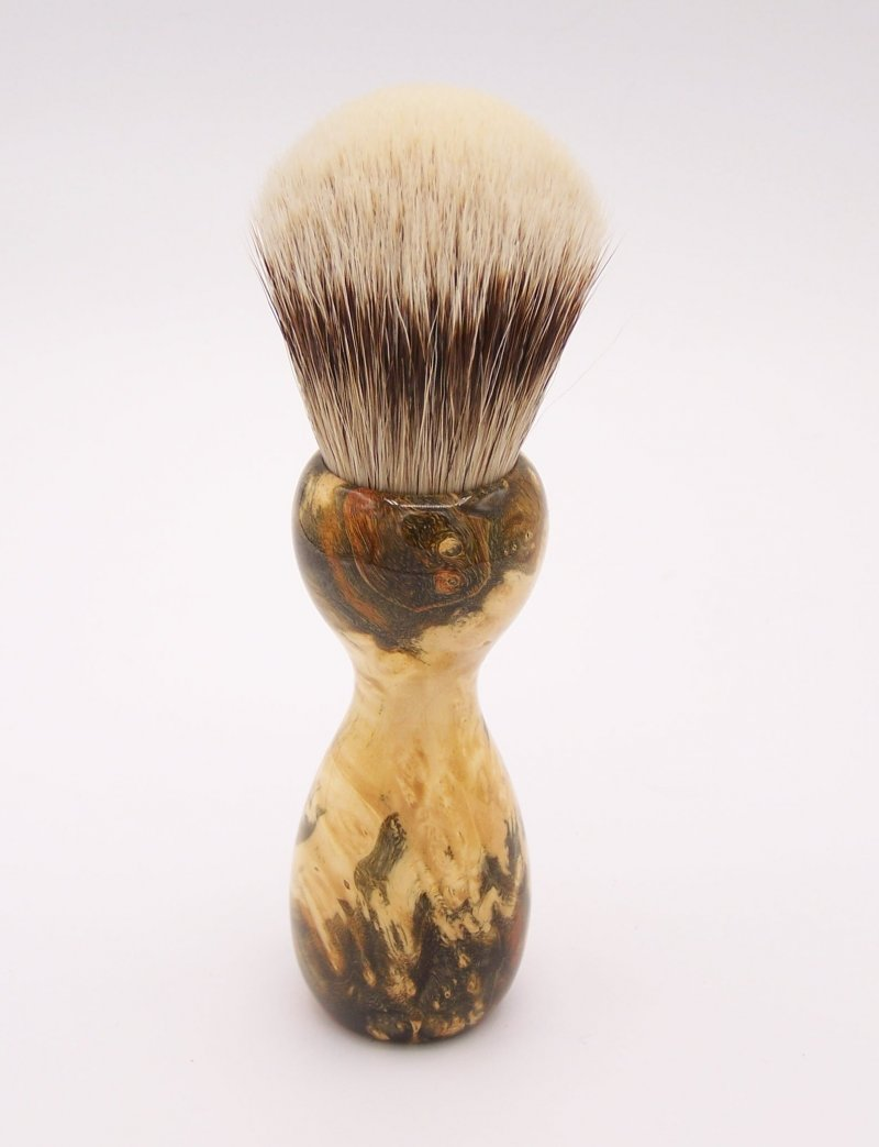 Image 3 of Gold & Green Box Elder Burl Wood 24mm Super Silvertip Badger Shaving Brush (G1)