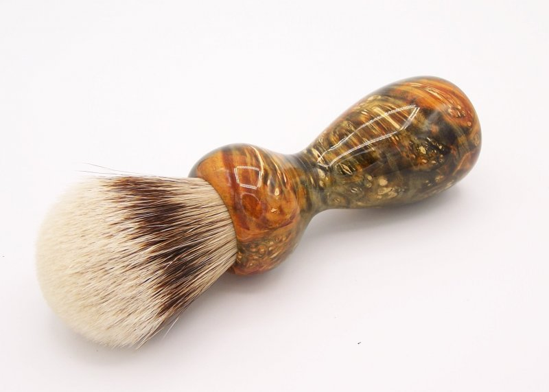 Image 0 of Gold & Green Box Elder Burl Wood 24mm Super Silvertip Badger Shaving Brush (G2)