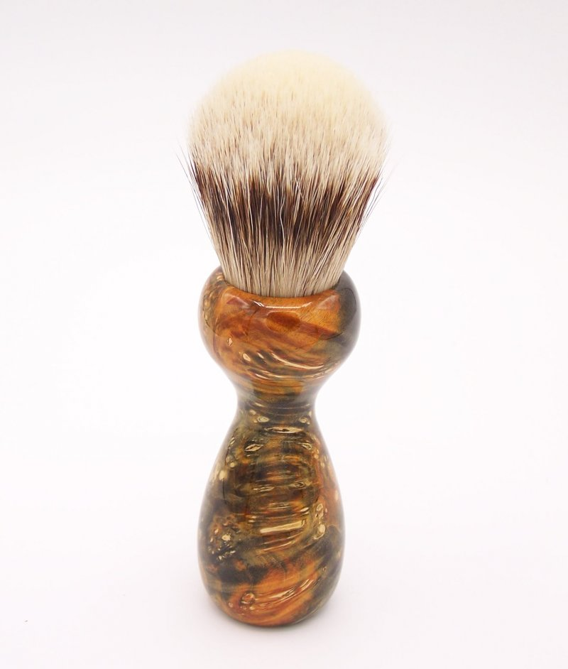 Image 1 of Gold & Green Box Elder Burl Wood 24mm Super Silvertip Badger Shaving Brush (G2)