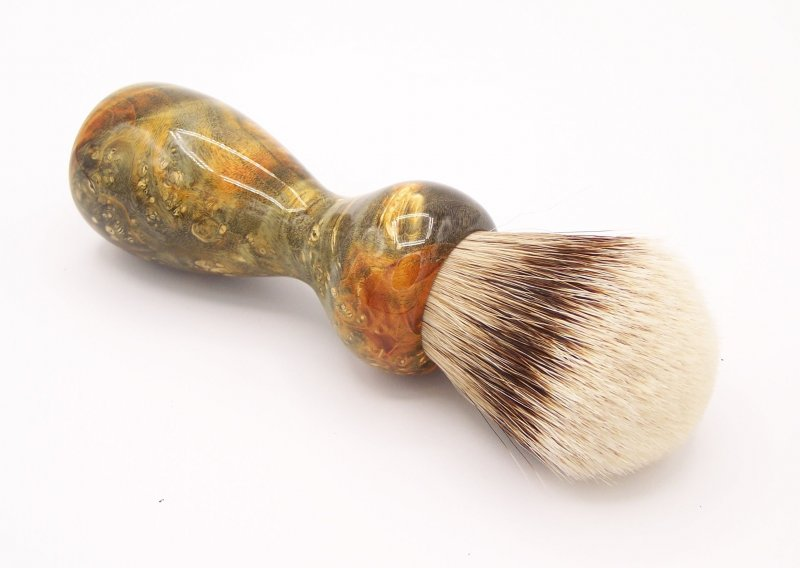 Image 2 of Gold & Green Box Elder Burl Wood 24mm Super Silvertip Badger Shaving Brush (G2)