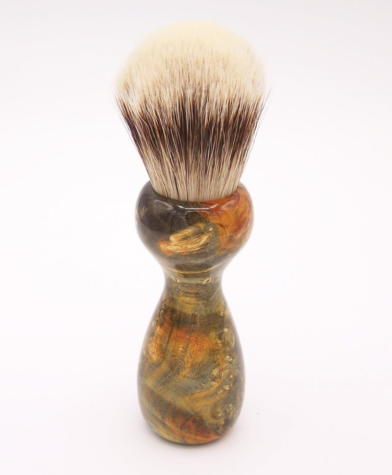 Image 3 of Gold & Green Box Elder Burl Wood 24mm Super Silvertip Badger Shaving Brush (G2)
