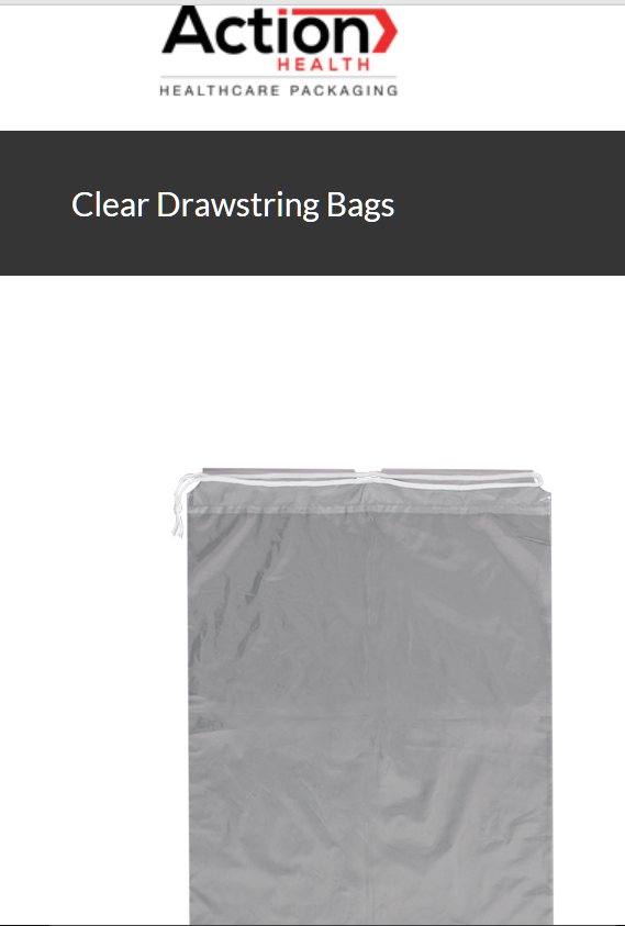 Clear Drawstring Bags One Case of 100, 12W x 18H, Clear by Action Health.