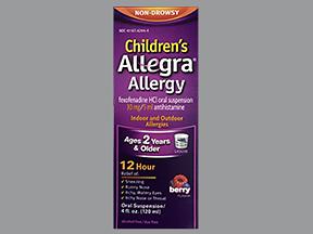 Allegra OTC C 30 Mg/5 ml Sus 4 oz By Chattem Drug & Chem Co Item No.:4009706 NDC No.: 41167424404 UPC No.: 041167424445 Item Description: Children's Allergy & Sinus Other Name:Allegra, Fexofenadine Th