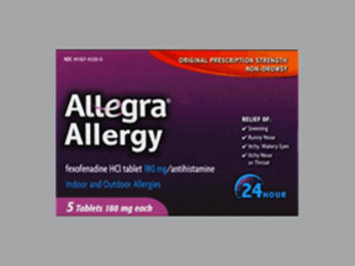 Pack of 12-Allegra OTC 24Hr 180mg Tablet 5 Count By Chattem Drug &