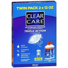 Clear Care Triple Action Cleaning & Disinfection Solution - 2 Pack 12 Fl oz