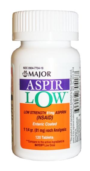 Aspir-Low 81 mg Tab 120 By Major Pharma Generic Bayer Lodose
