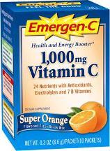 Emergen-C Vitamin C Dietary Supplement, 1000 mg, Super Orange - 10 packets, 0.32