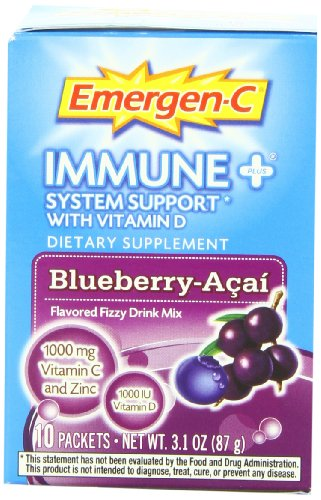 Emergen-C Immune+ System Support With Vitamin D Blueberry Acai - 10 Packets