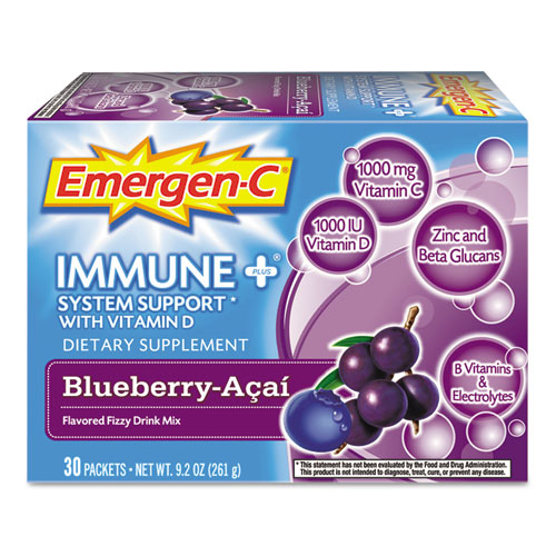 Emergen-C Immune+ Fizzy Drink Mix Blueberry-Acai - 30 Packets