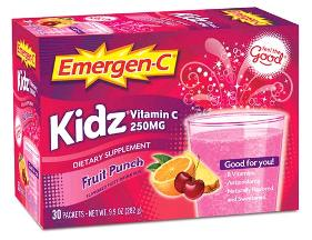 Emergen-C Kidz Vitamin C Fizzy Drink Mix Fruit Punch - 30 Packets 9.7 oz Box
