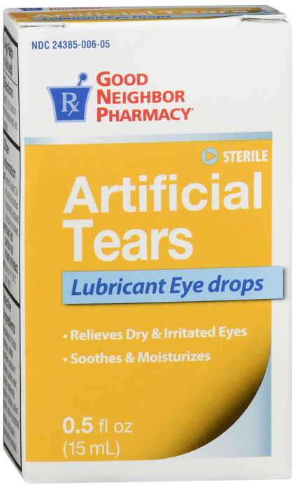 Good Neighbor Pharmacy Artifical Tears 0.5%-0.6% Drop 0.5 oz By Kc Pharm /Good Neighbor Pharmacy (GNP) Item No.: 4104067 OTC104067 NDC No.: 24385000605 UPC No.: 087701104060 Item Description: Prvt Lbl