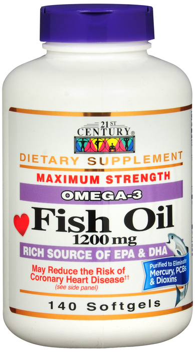 Fish Oil 1200mg Softgel 140 Count 21st Cent
