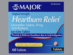Heartburn Relief 10mg Tablet 60 Count Generic Pepcid By Major Pharma