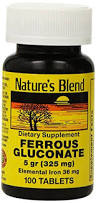 Ferrous Gluconate 100 Tabs By Nature's Blend
