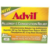 Advil Allergy & Congestion Relief, 200 mg, Coated Tablets - 10 count Advil Allergy & Congestion Relief, 200 mg, Coated Tablets - 10 count  Item No.:4171037 Ndc No.: Upc No.: 305730196109 Item Descript