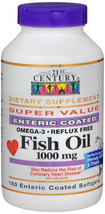 Fish Oil 1000mg EC Gelcap 180 Count 21st Cen