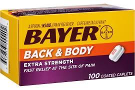 Bayer Aspirin Xstr Cpl Back Body 100Ct