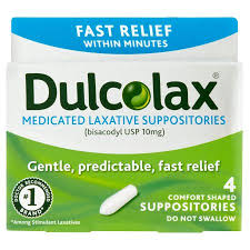 Dulcolax Laxative Medicated 10 mg Comfort Shaped Suppositories - 4 Suppositor