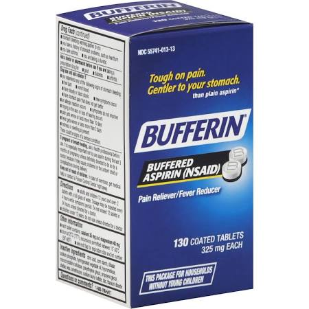 Bufferin Regular Strength Asprin 325mg Tablet 130 Count By Emerson