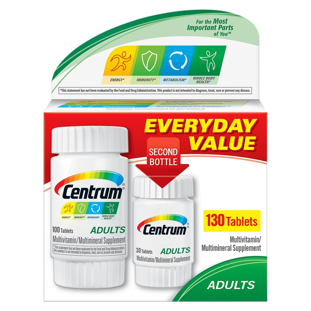 Centrum Adults Multivitamin Tablets - 130 Count Bottle