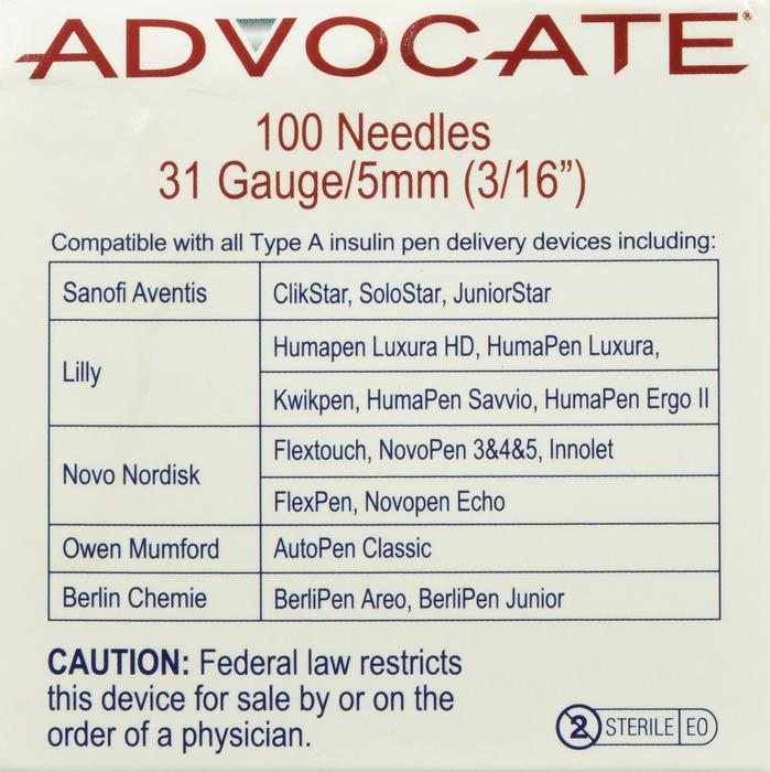 '.Advocate Pen Needle 31g 3/16in.'