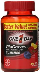 ONE-A-DAY VitaCraves Adult Multivitamin Gummies, Fruit, 70 Ct