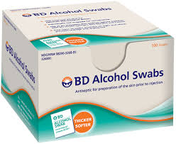 BD Alcohol Swab 100 Count By Becton Dickinson/Diabetes Care Item No.: 4284745 NDC No.: 08290326895 08290-3268-95 UPC No.: 382903268955 Item Description: Alcohol Wipes Other Name: :BD Alcoh Swab Therap