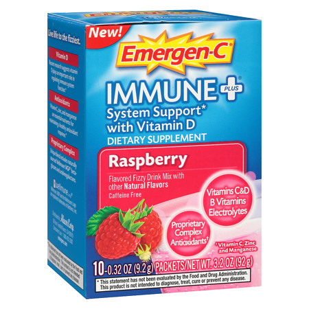 Emergen C Immune Plus Drink Mix Raspberry - 10 Pack 0.32 oz Pack