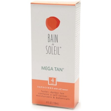 Bain De Soleil Mega Tan Sunscreen With Self Tanner SPF 4 4 oz