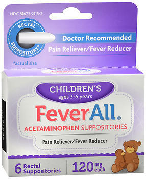 Feverall Acetaminophen 120mg Sup 6Ct