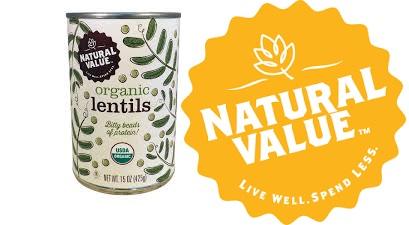 Natural Value Lentils Organic(95%) 15 Oz