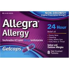 Allegra OTC 24Hr 180mg Gelcap 8 Count By Chattem Drug & Chem Co