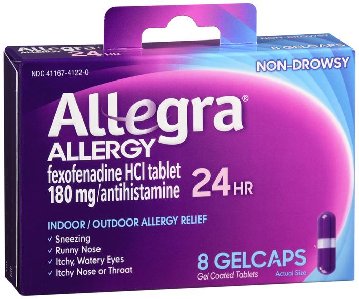 Pack of 12-Allegra OTC 24Hr 180mg Gelcap 8 Count By Chattem Drug & Chem Co