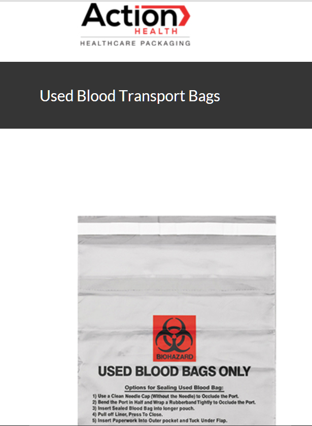 Blood Transport Bag One Case of 1000, Used Blood Transport 10W x 10H by Action H