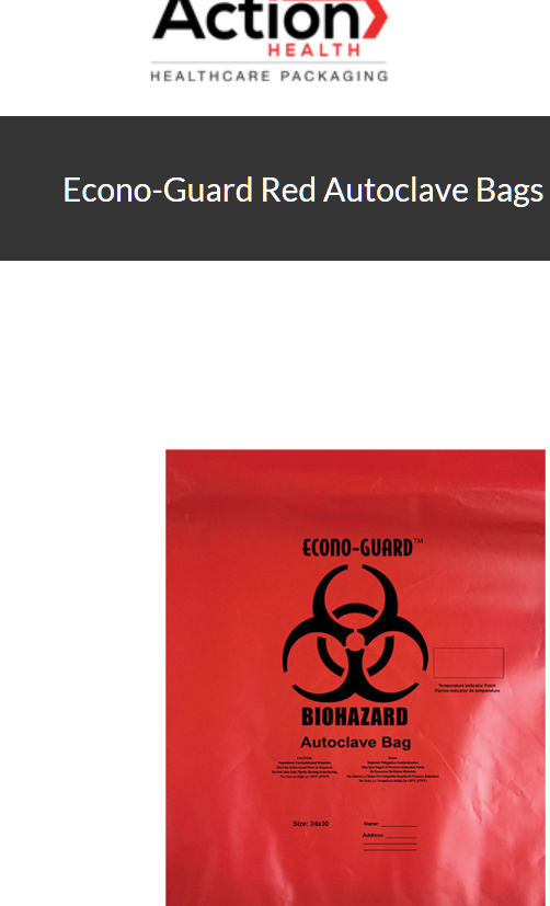 Econo-Guard Red Autoclave Bags One Case of 200, Polypropylene Biohazard Autoclav