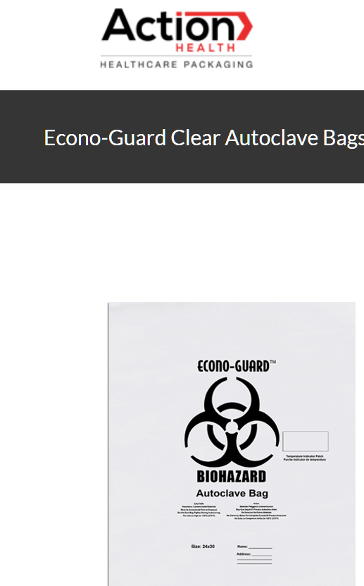 Econo-Guard Clear Autoclave Bags One Case of 200, Polypropylene Biohazard Autocl