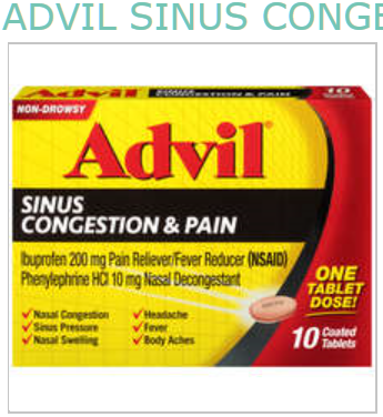 ADVIL SINUS CONGESTION AND PAIN TAB 10CT BY PFIZER PHARMA ADVIL SINUS CONGESTION AND PAIN TAB 10CT BY PFIZER PHARMA  Item No.:4392466 Ndc No.: 00573-0199-11  00573-199-11  00573019911  0057319911   Up