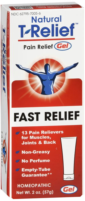 Free Shipping-T-Relief PAIN RELIEF 57GM/2OZ Gel 50gm By Medinatura case of 12
